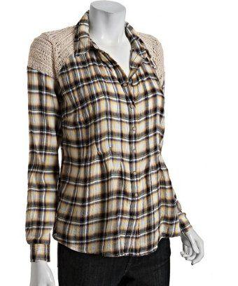 Free People autumn combo crochet plaid long sleeve shirt