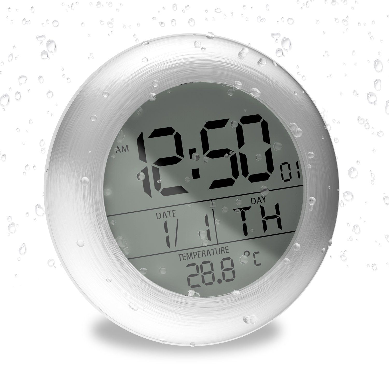 Fashion Waterproof Bathroom Wall Clock Suction Cup Shower Clock With Lcd Display Table Clock A Round Silver Check Out Bathroom Wall Clocks Clock Wall Clock