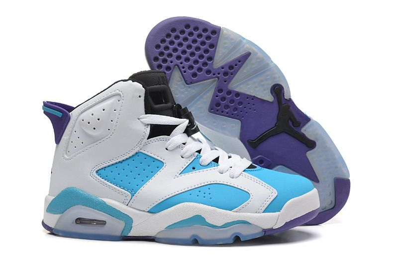 Cheap Wholesale Air Jordan 6 Retro White Purple Blue Black Mens