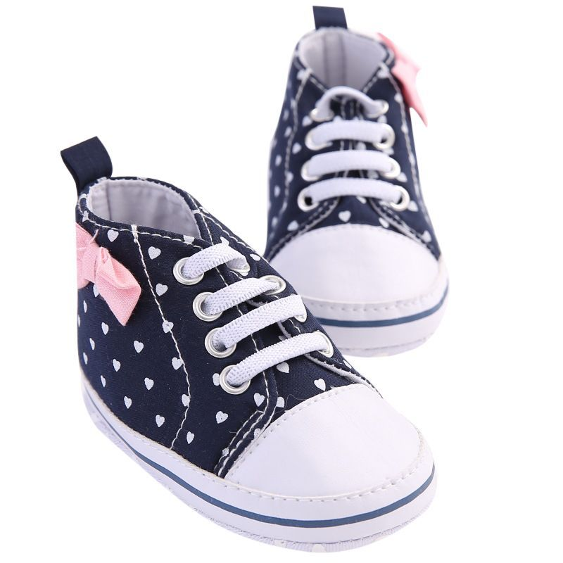 DreamShining Bow Baby Shoes Canvas Soft Sole Girls First Walkers Footwear  Anti-slip Toddler Shoes Casual Lace Baby Sneakers 1e81836a8594