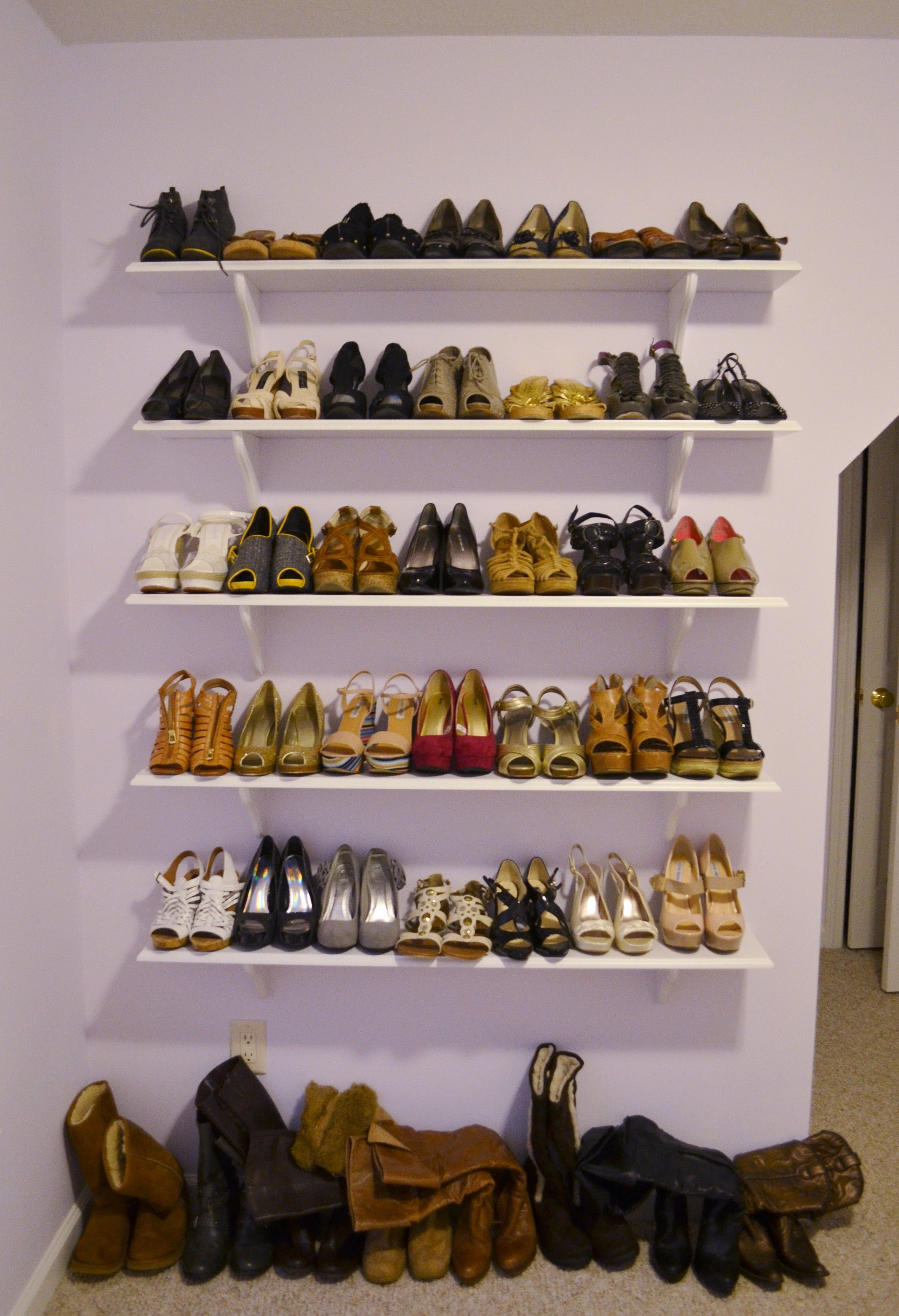 interior marvelous floating boot rack ideas with 5 level wooden shelves concept for shoe storage in closet ideas - Marvellous Closet Shoe Storage Ideas