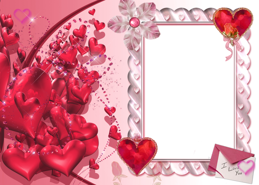 I Love You Heart Transparent Frame Pink Moldura Pra Foto Fundo