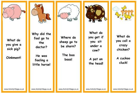Farm Animal Bookmarks Jokes Animal Jokes Jokes For Kids Jokes