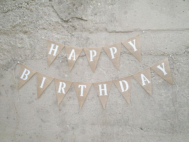 Happy Birthday Burlap Banner Blue Or Grey Letters On