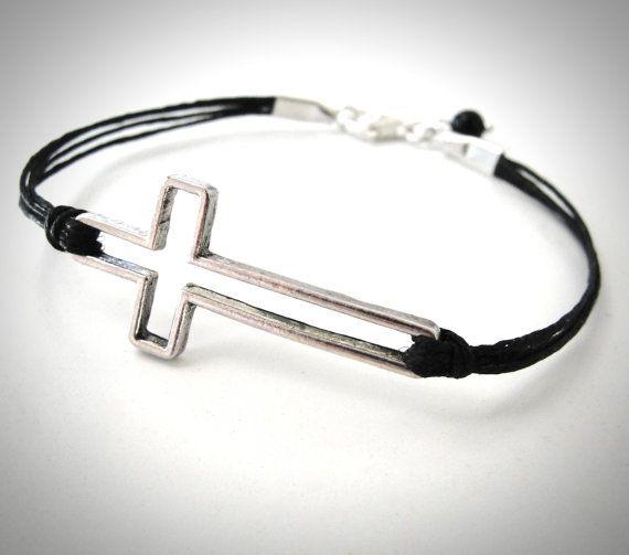 Silver Sideways Cross on Linen bracelet by JewelryByMaeBee on Etsy, $22.00