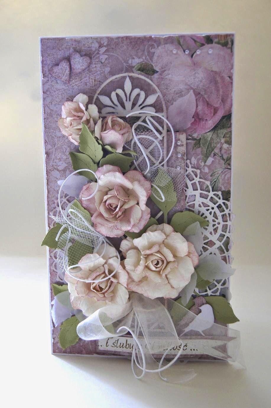 Kartkowy Swiat Gosi Rozany Slub Flower Cards Floral Cards Cards Handmade