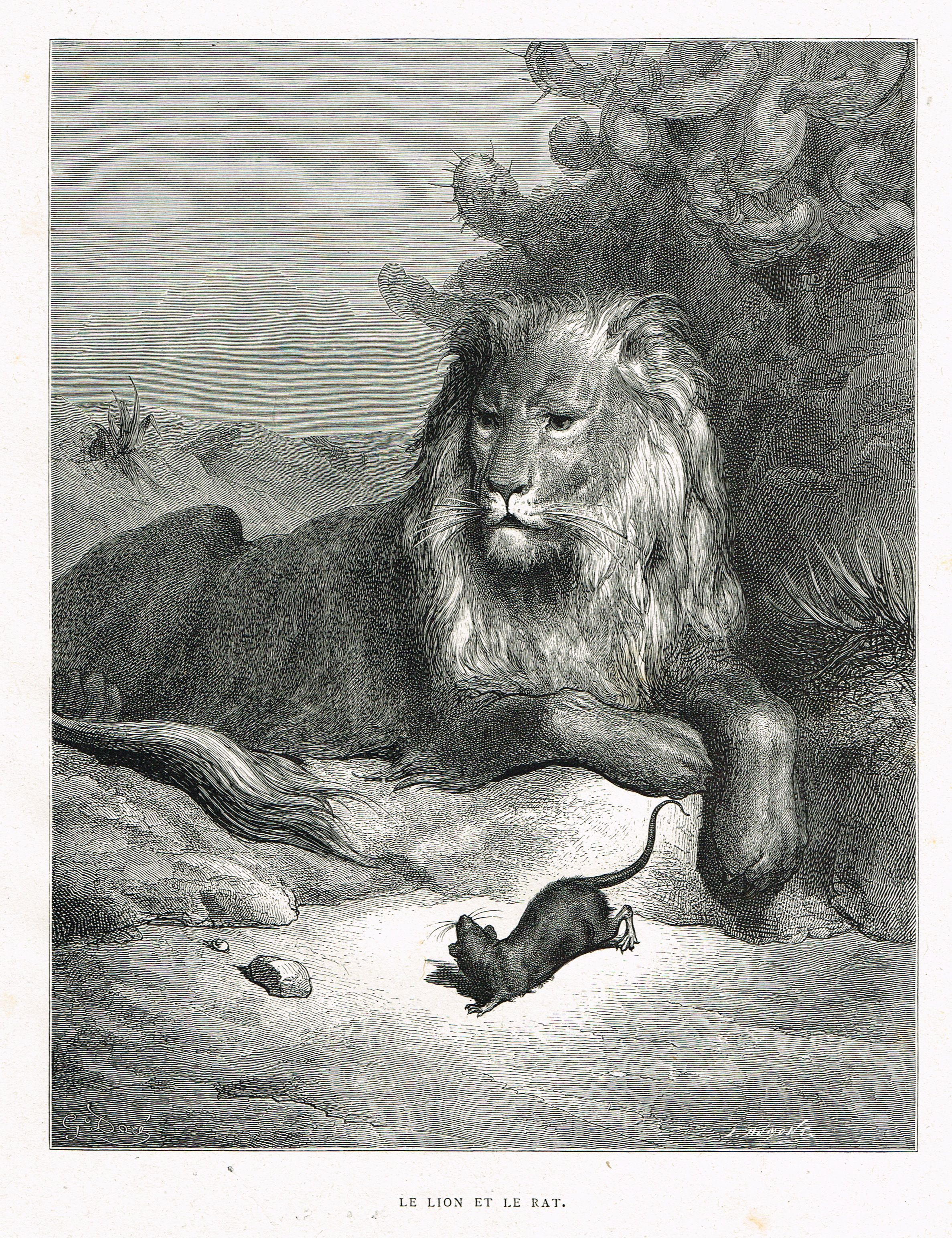Le lion et le rat fable de jean de la fontaine illustr e - Dessin le lion et le rat ...