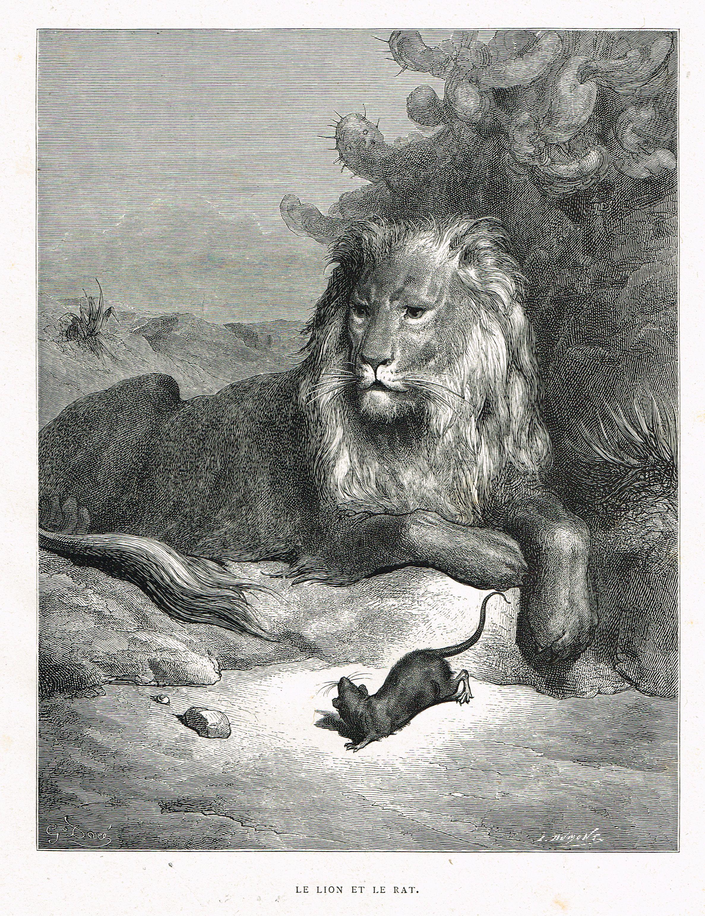 Le lion et le rat fable de jean de la fontaine illustr e - Image le lion et le rat ...