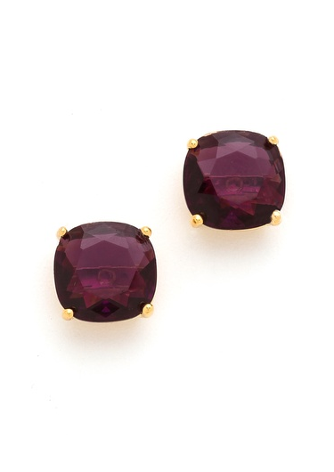Small Square Stud Earrings in Amethyst