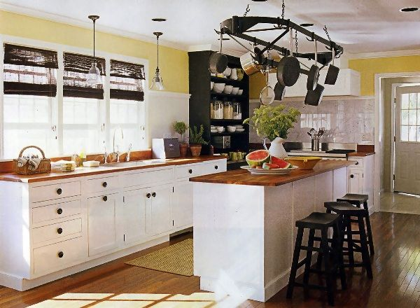 Pot Rack, Butcher Block Island, White Cabinets With Yellow Kitchen, And  Open Shelving Storage With No Upper Cabinets For Extra Window Space. Part 57