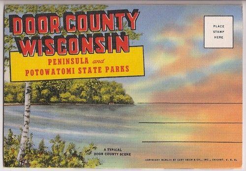 Door County Wisconsin Peninsula And Potowatomi State Parks Vintage Souvenir Folder Door County Wisconsin Door County State Parks