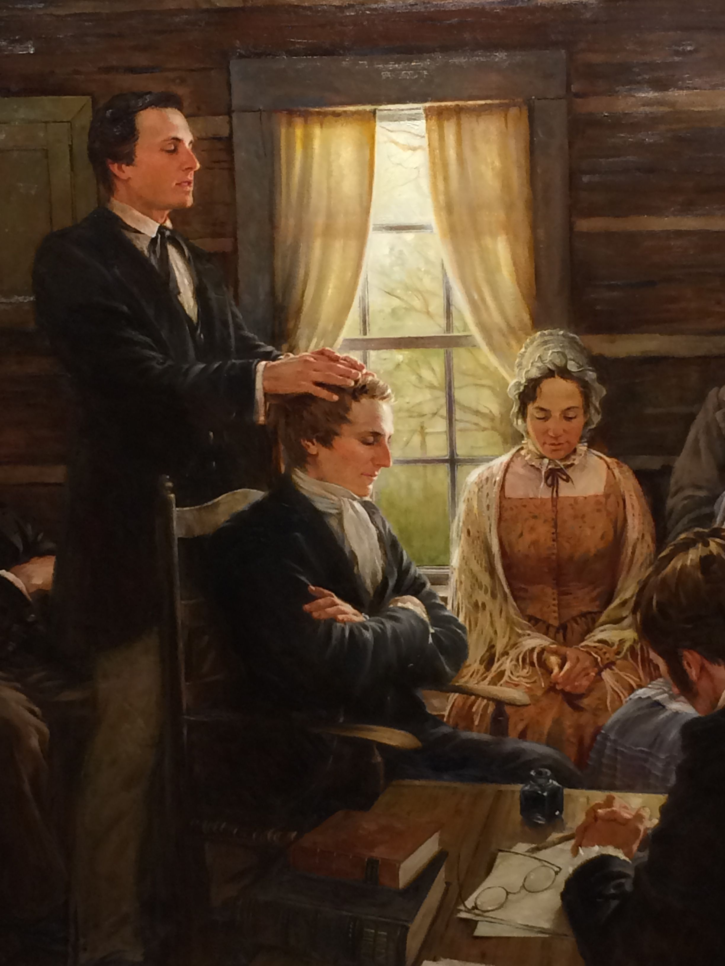 Oliver Ordaining Joseph as the 1st Elder in the church.  (Photo taken at the Peter Whitmer Farm. I don't know who painted this. If you know who did, let me know)