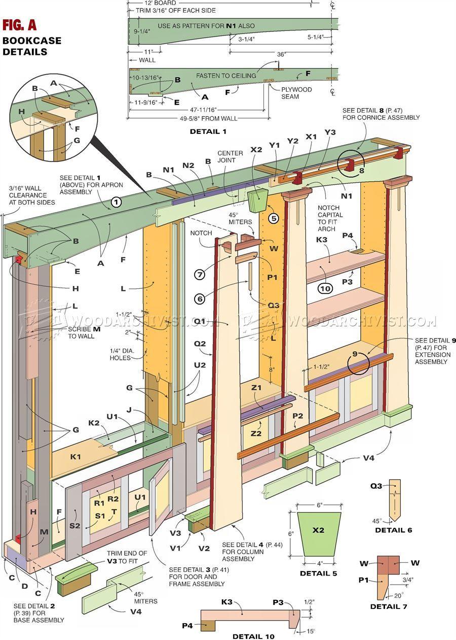 18 Mission Oak Built-In Bookcase Plans - Furniture Plans | Dinning ...