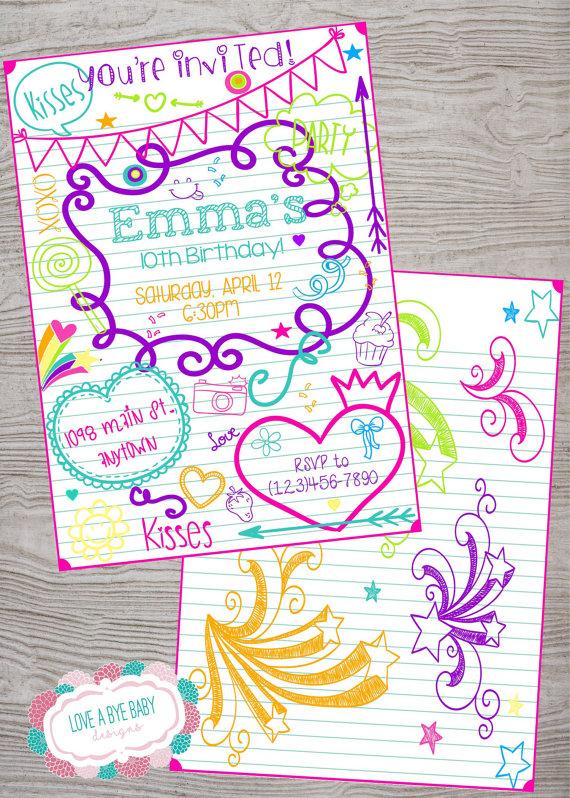 Doodle tween teen kid birthday invitation. printable. digital ...