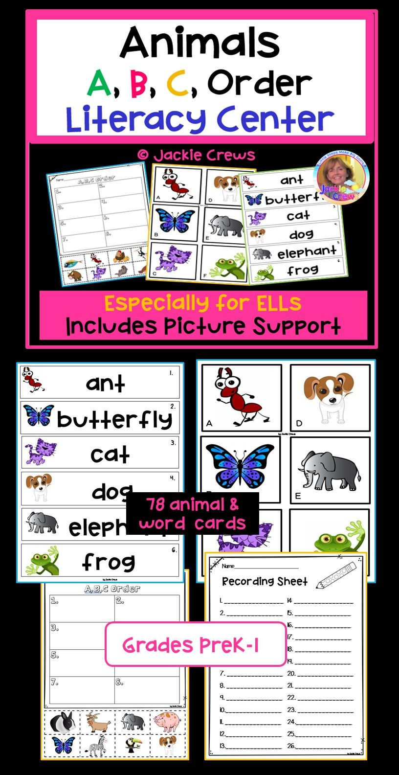 This 20 Page Literacy Center Has Three Sets Of Word Picture Cards The Product Focuses On Learning Animal Names Literacy Centers Literacy Vocabulary Activities [ 1584 x 816 Pixel ]