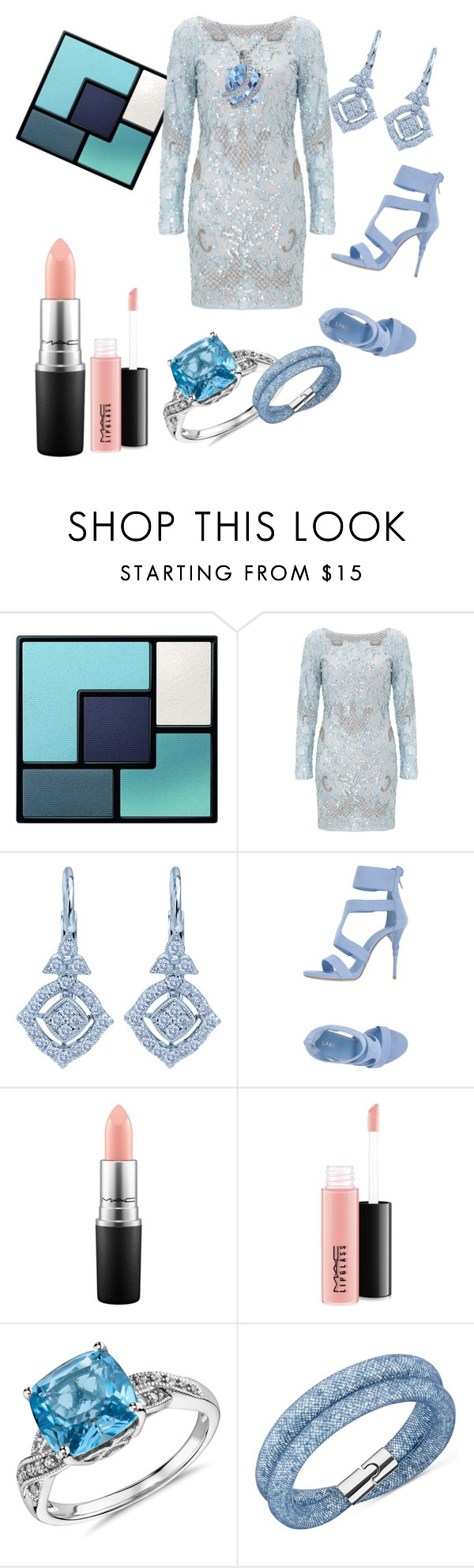 """Frost Blue"" by lindadrotner ❤ liked on Polyvore featuring Yves Saint Laurent, Aidan Mattox, Le Silla, MAC Cosmetics, Blue Nile, Swarovski, Miadora, women's clothing, women's fashion and women"
