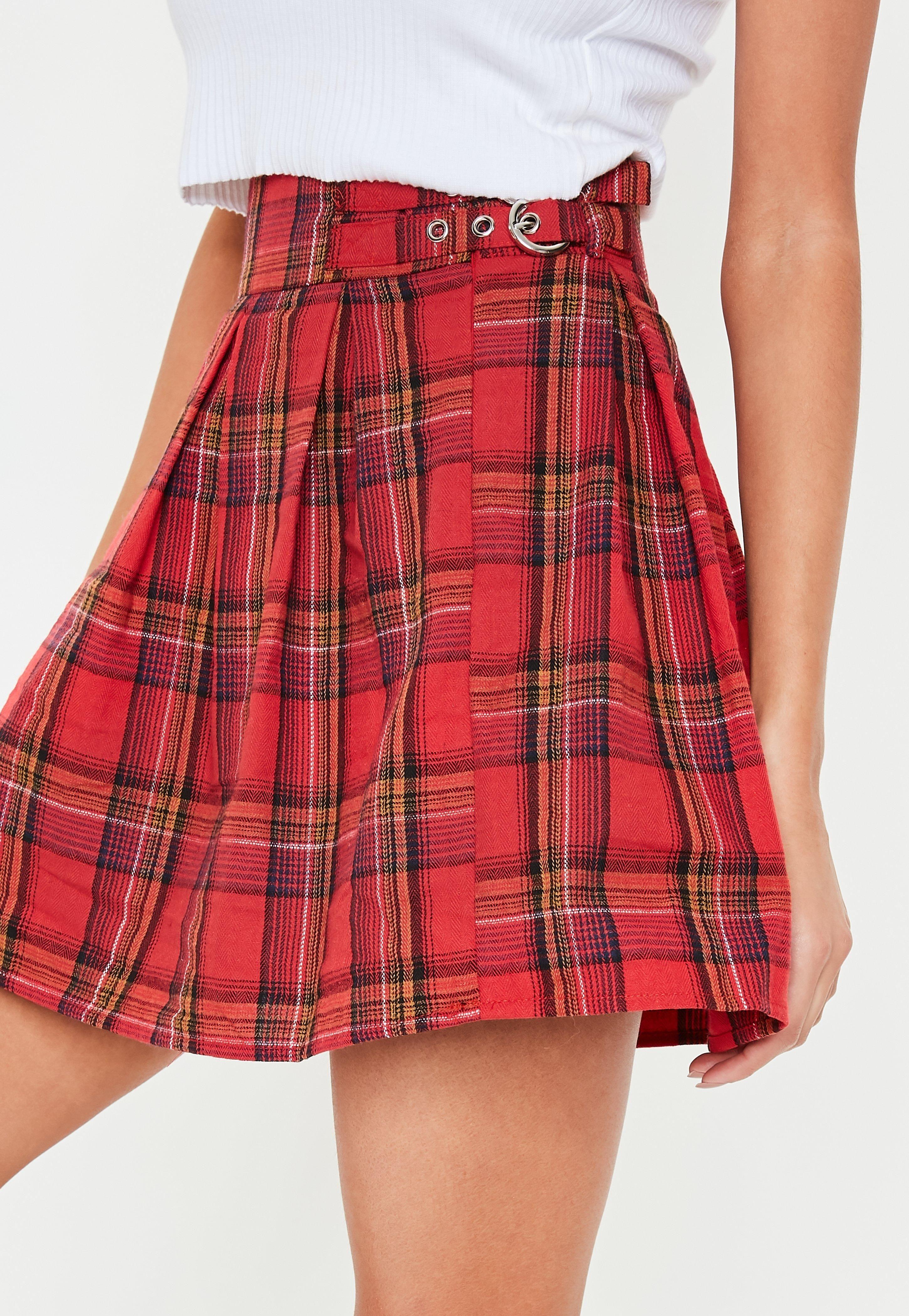 5da9a6409a Red Plaid Print Pleated Buckle Mini Skirt #Sponsored #Print, #sponsored, #