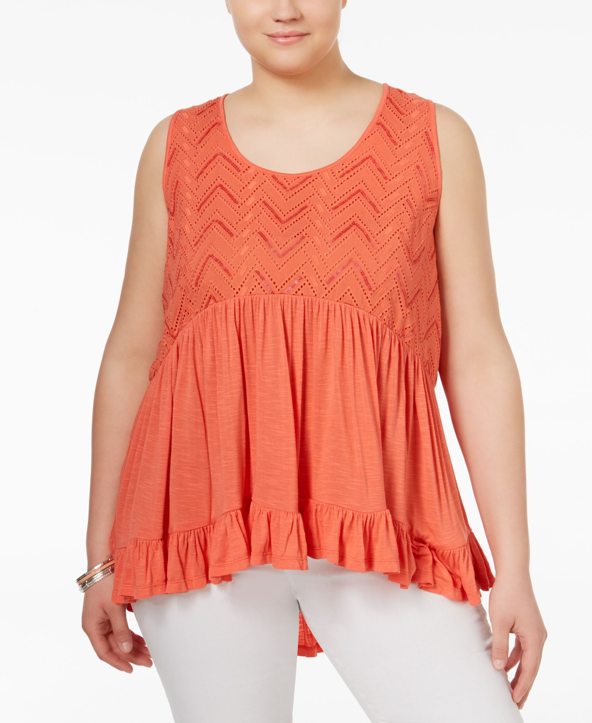 American Rag Plus Size Ruffled Eyelet Top, Only at Macy's