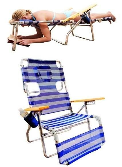 beach chair with face and arm holes for reading