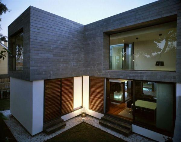 Zeitgenössische Luxus Doppelhäuser Holzjalousien Und Raumhohe Fenster