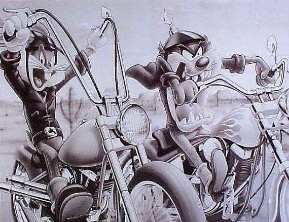 Looney Tunes Bugs Bunny Y Taz En Motos Raras Cartel Vintage Motorcycle Looney Tunes Vintage Posters