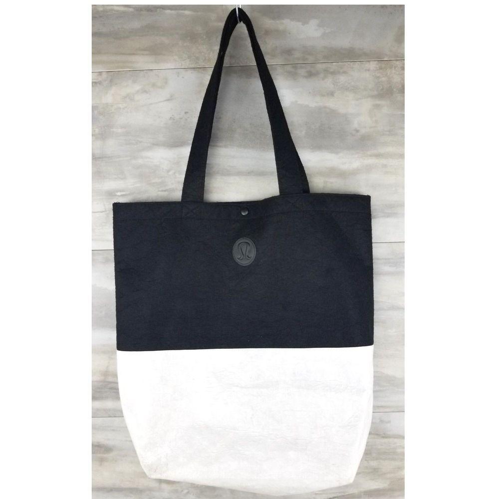 61a2e1e3569 Lululemon Yoga Black Felt White Vinyl Tote Bag Snap Close X-Large 18 x 17 x  6.5 #Lululemon #Tote