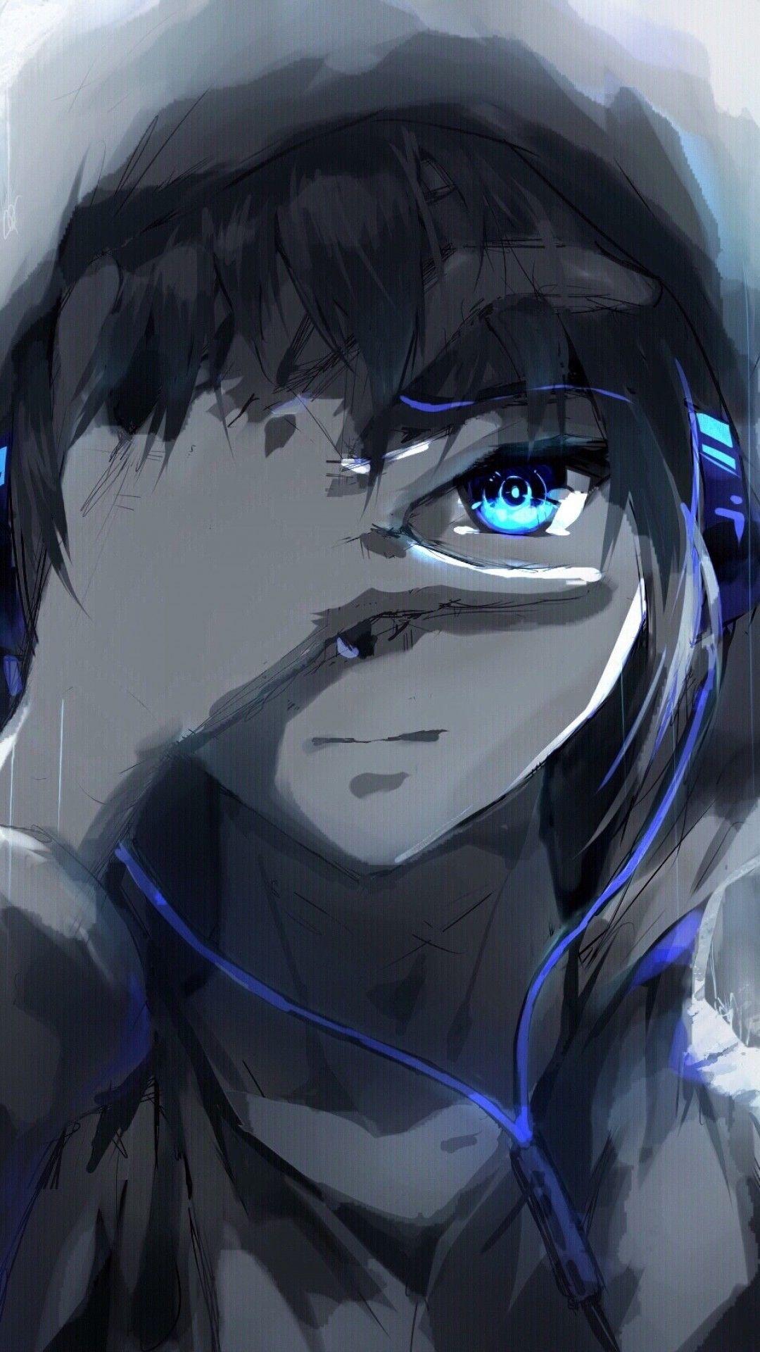 Anime Boy, Hoodie, Blue Eyes, Headphones, Painting in 2019