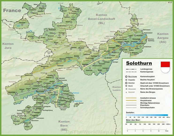 Canton of Solothurn map with cities and towns Maps Pinterest