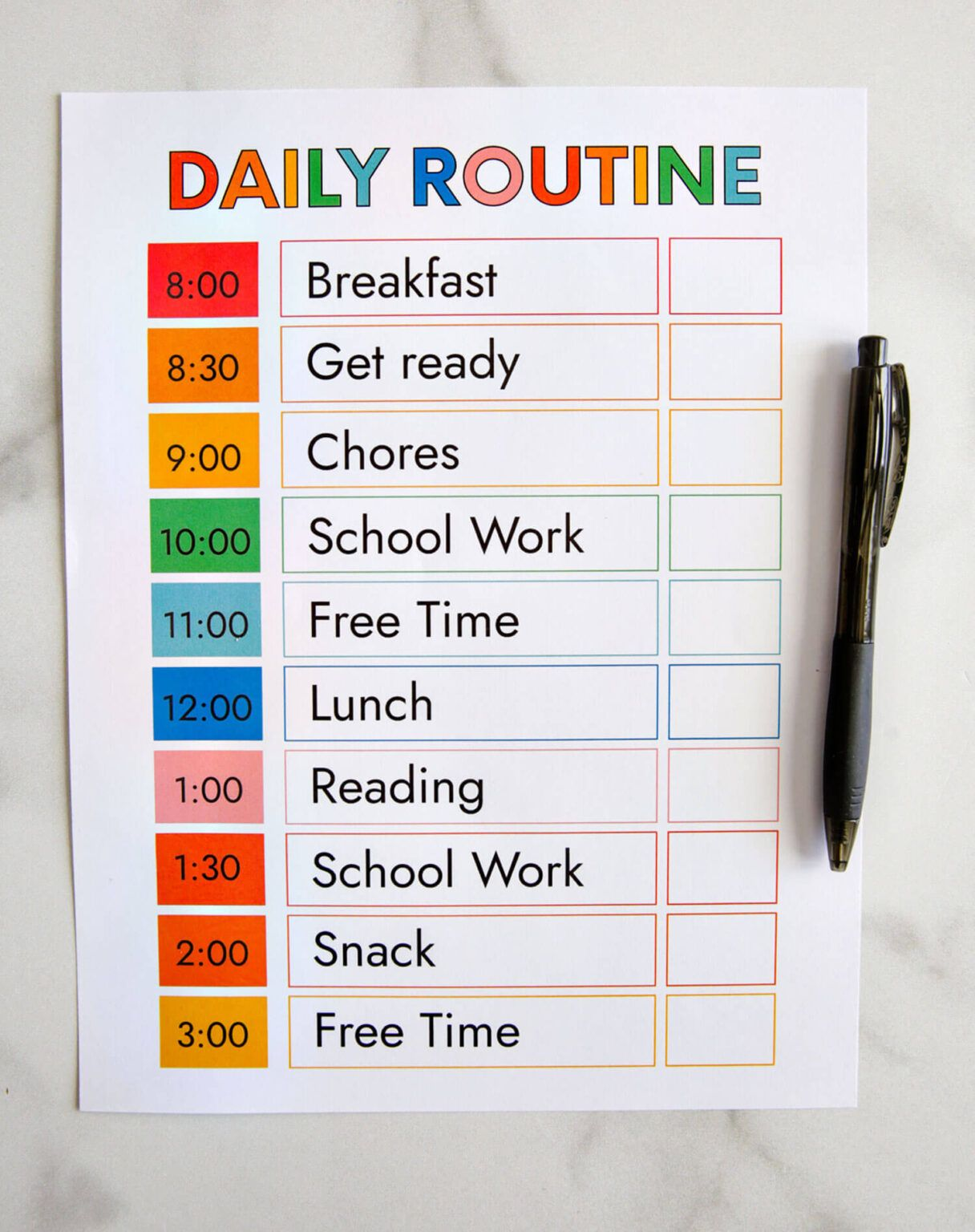 Printable Daily Routine Daily Schedule Template Daily Schedule Kids Homeschool Daily Schedule [ 1536 x 1216 Pixel ]