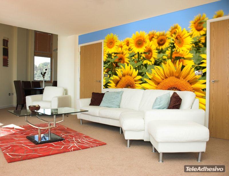 Fotomurales paisaje girasoles fotomurales naturaleza for Papel pintado paisajes