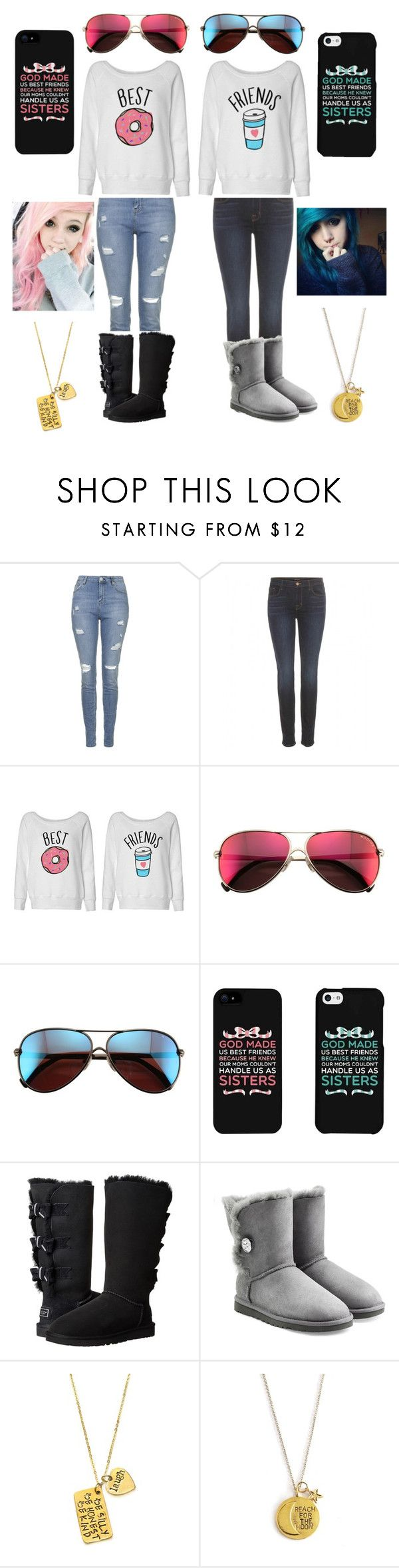 """""""#55 'Best Friends' matching outfit"""" by thatfamousdork on Polyvore featuring beauty, Topshop, J Brand, Wildfox, UGG Australia and Alisa Michelle"""
