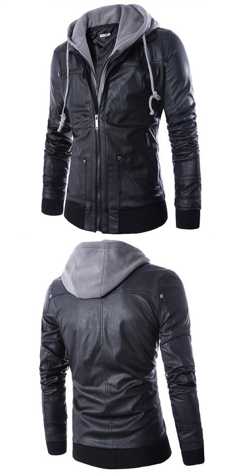 22beaf65109 Motorcycle Leather Jackets Men Leather Clothing Men Leather Jackets Male  hooded Coats