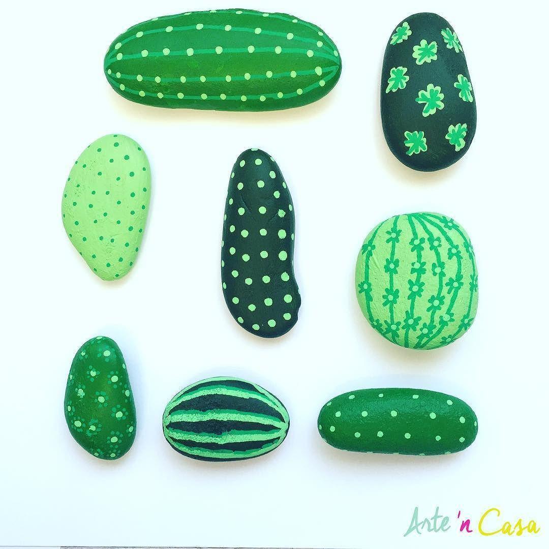Cactus Diy Con Piedras El Vídeo Tutorial Paso A Paso En Nuestro Canal De Youtube Painted Rock Cactus Cactus Diy Rock Cactus
