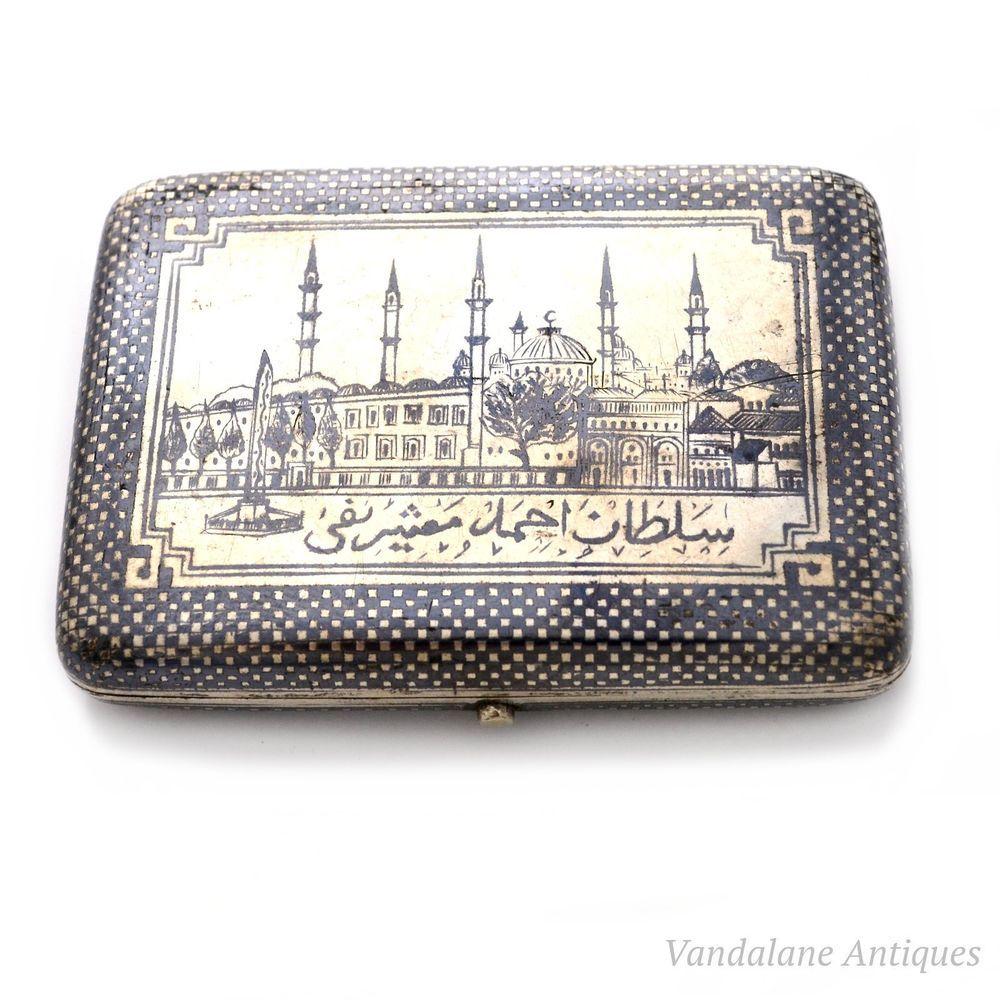 Antique solid silver Turkish ottoman niello enamel cigarette case Islamic mosque #cigarettecase