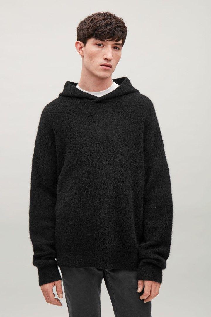 695d3be3ce64 COS image 1 of Mohair-blend hoodie in Black Sweater Cardigan, Jumper, Men