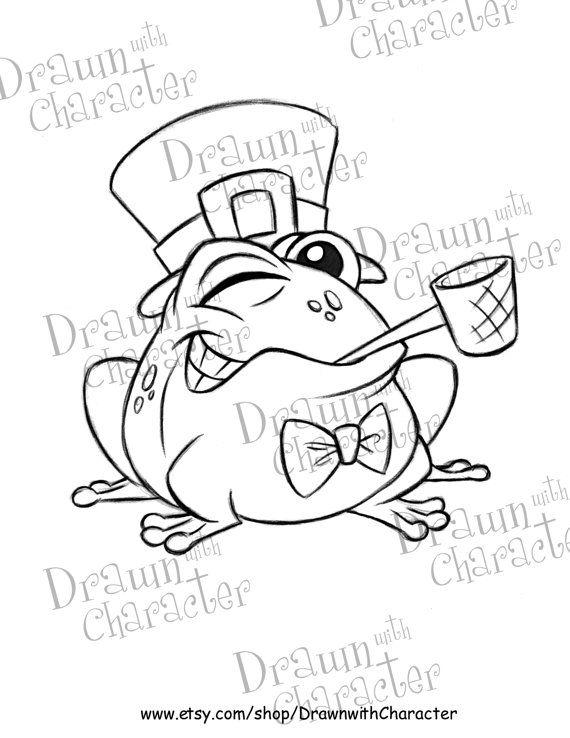 St Patrick S Day Winking Frog Digital Stamp Art Kopykake Etsy In 2020 Digital Stamps Coloring Pages Disney Art Drawings