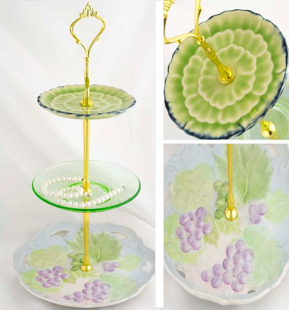 3 Tier Server Jewelry Display Tiered Stand Purple and Green Floral China Server Tidbit Tray  Hostess Gift  High Tea Party Decor