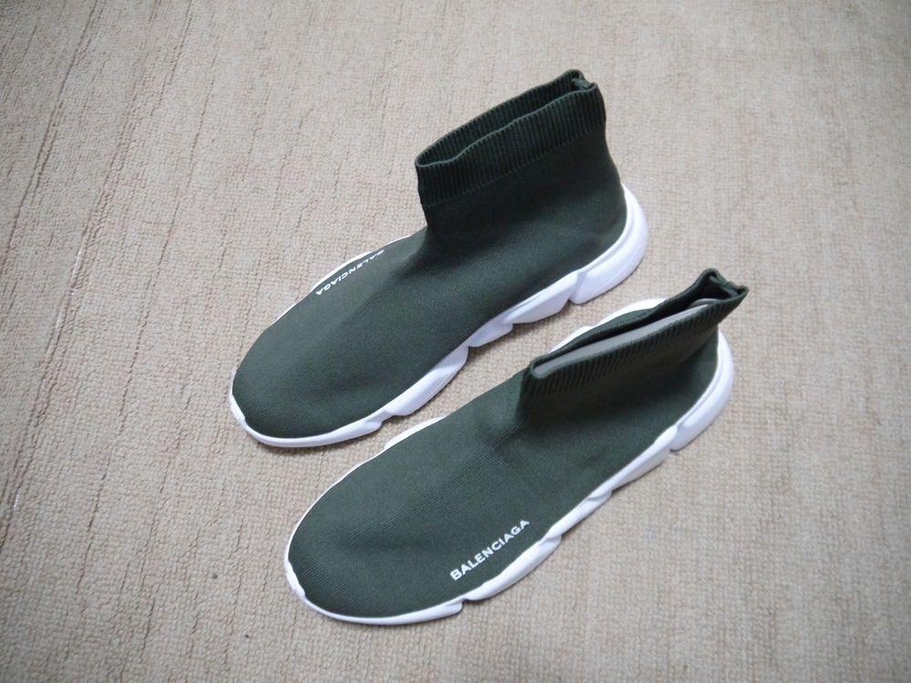 new york good popular stores Balenciaga Speed Trainer Knit Sock Dark Green White Size 9 ...