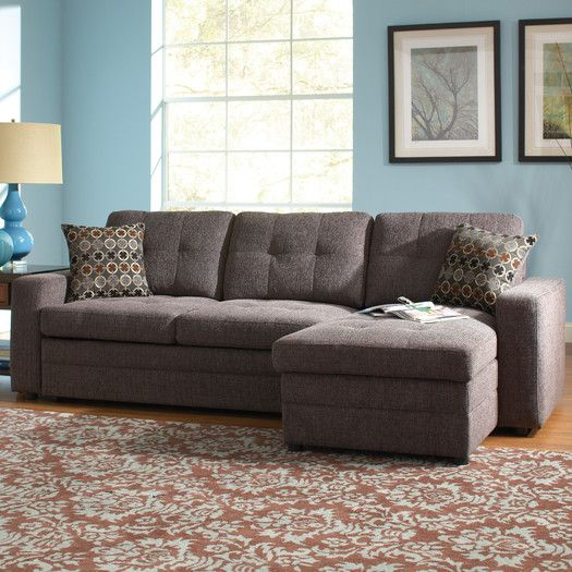 Coaster Gus Charcoal Chenille Upholstery Small Sectional Storage Chaise Sofa Pull Out Bed Sleeper With Track Arms 1