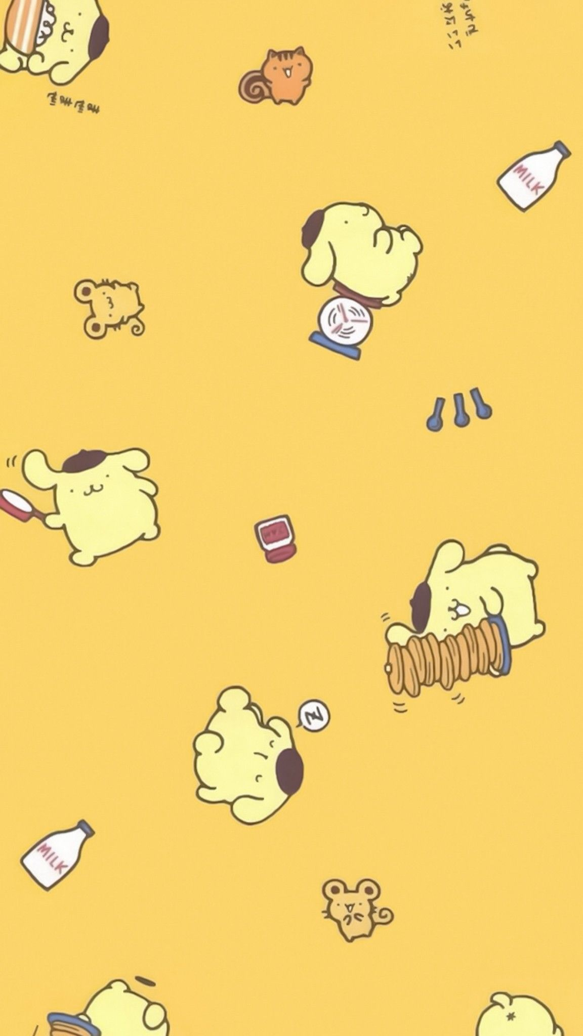 Pin By Aekkalisa On Pompompurin Bg Yellow Wallpaper Sanrio Characters Cute Wallpapers