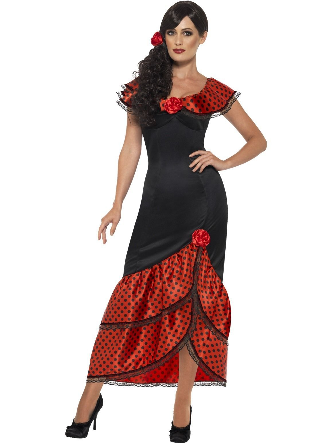 10f869e9384e Flamenco Senorita Costume Spanish Mexican Saloon Dancer Fancy Dress Outfit  | eBay
