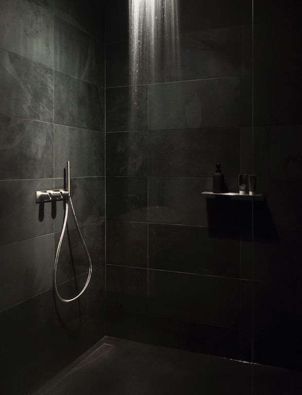 black calibrated slate, extra clear glass, CEA design faucets and ...