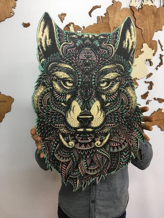 Wolf Wood Wall Art Wolf Wooden Decor Wall Art Animals Decor Mandala
