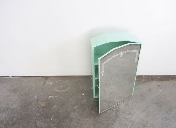 Art Deco Medicine Cabinet Mint Green Metal 1940 By DOTTO Mirror SaleMedicine CabinetsMint GreenBathroom