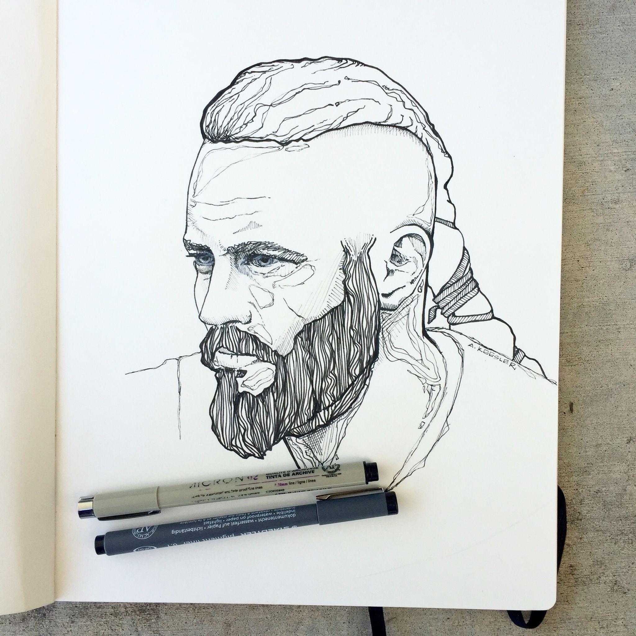 Ragnar Lothbrok, Vikings, vikings art, ink drawing, sketchbook, moleskin, micron pens, Vikings fan art
