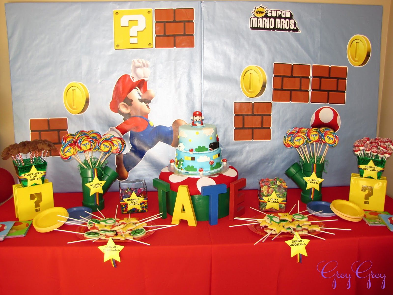 GreyGrey Designs My Parties Super Mario Birthday Party