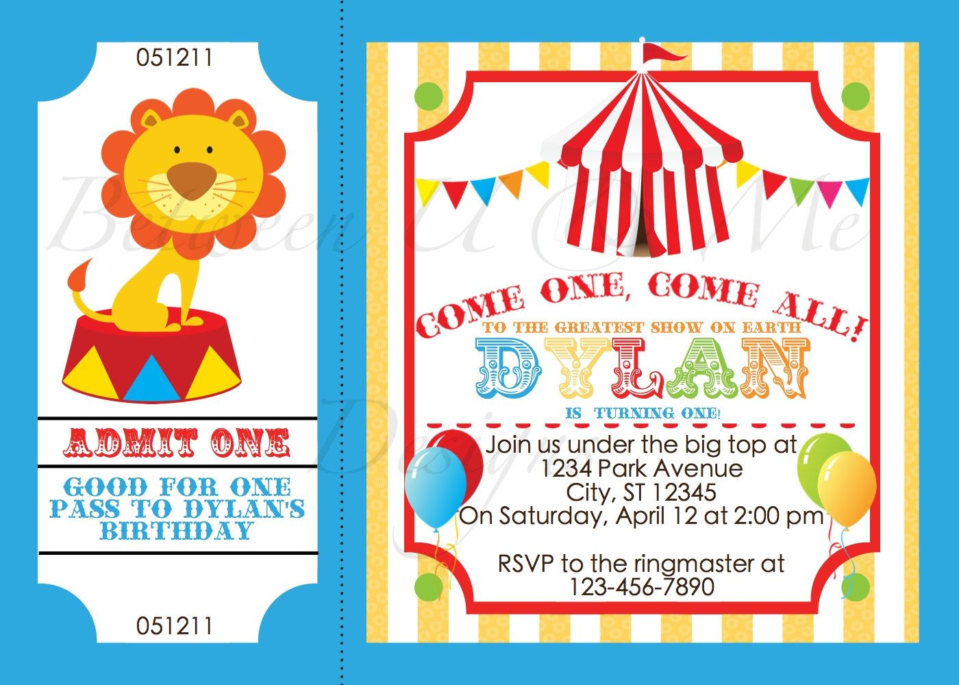 Custom Photo Circus Ticket Birthday Invitation Carnival Circus