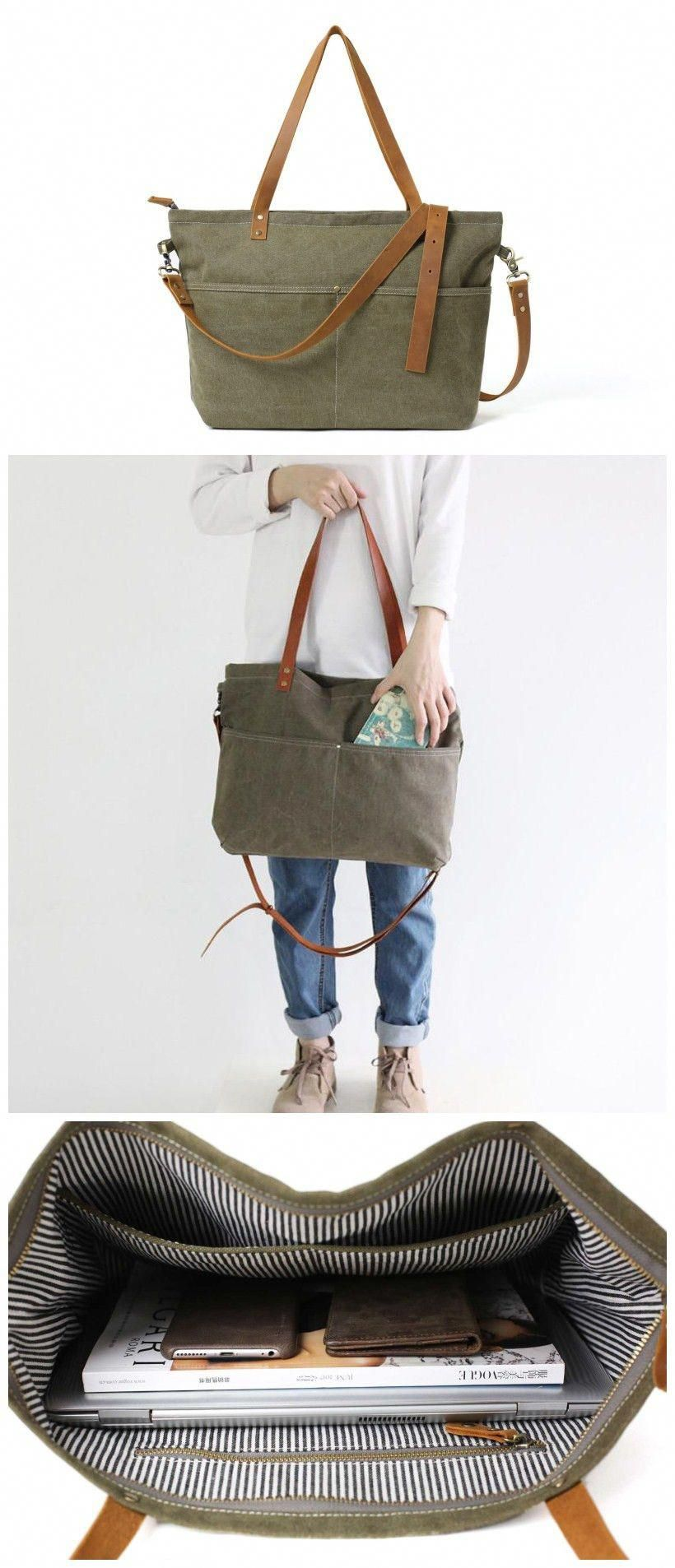 Diaper Bag Waxed Canvas with Leather Women Tote Bag Shoulder Bag Handbag   totesleatherbags 4c6b67f2b23dc