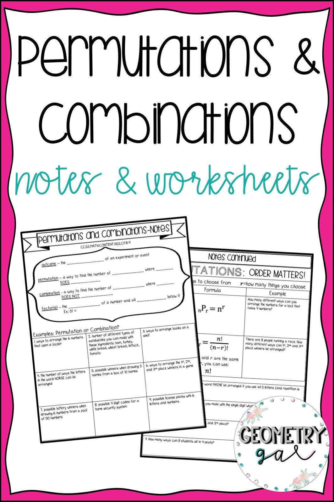 Permutations And Combinations Notes And Worksheets This