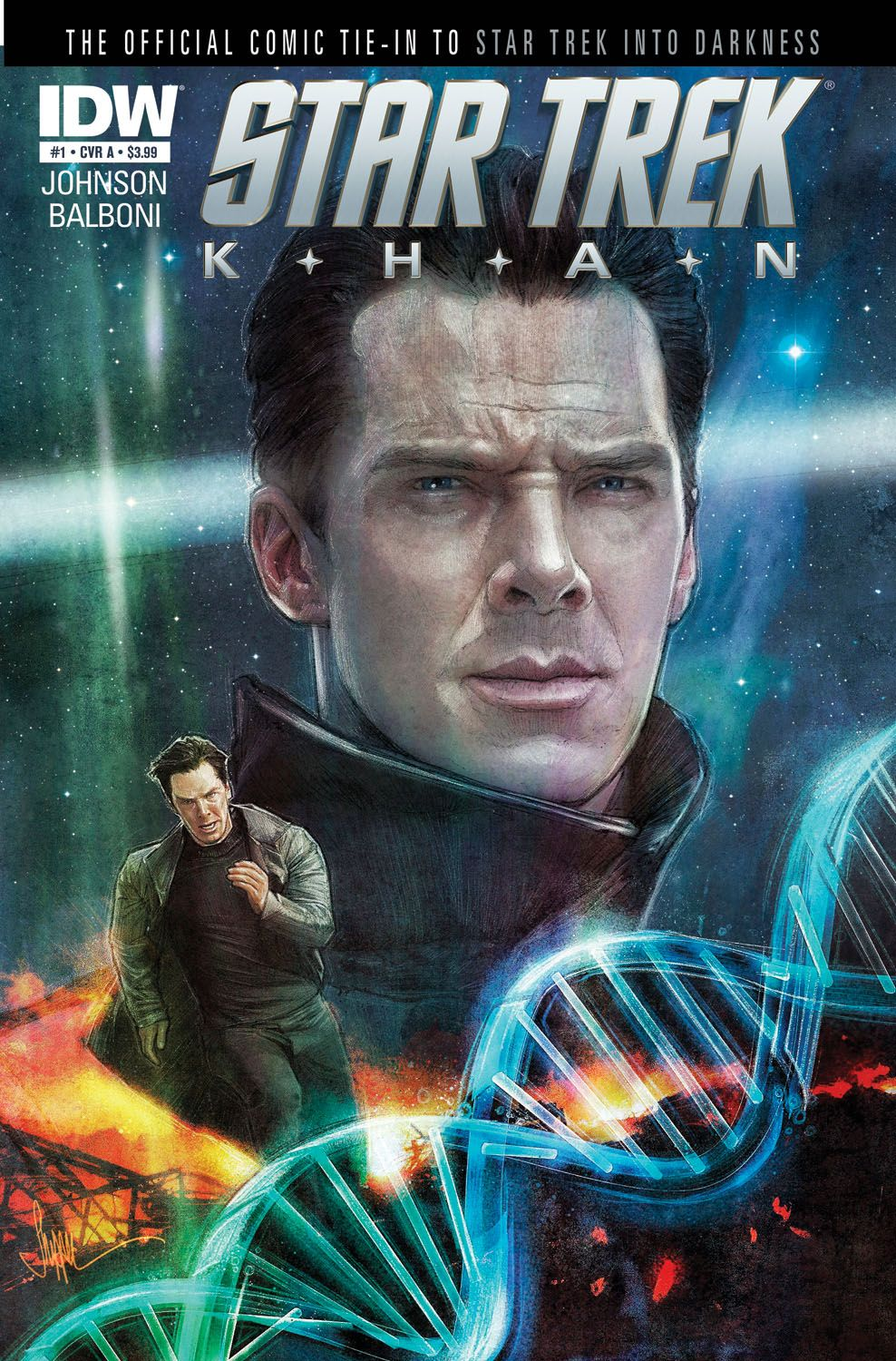 Star Trek: Khan #1 (of 5)—SPOTLIGHT Don't miss this all-new mini-series event overseen by Star Trek Into Darkness writer/producer Roberto Orci! Witness the shocking origin of Khan Noonien Singh from his earliest years through his rise to power during the epic Eugenics Wars! Behold the events that led to his escape from Earth aboard the Botany Bay! Learn the truth behind his re-awakening by Admiral Marcus and Section 31! It's the origin of Star Trek's greatest villain, only from IDW!